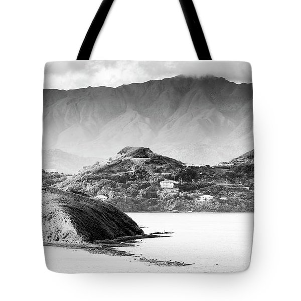 Tote Bag featuring the photograph Noumea Sunset Landscape Black And White by Tim Hester