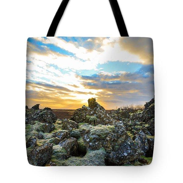 November Light Over Icelandic Lava Field Tote Bag