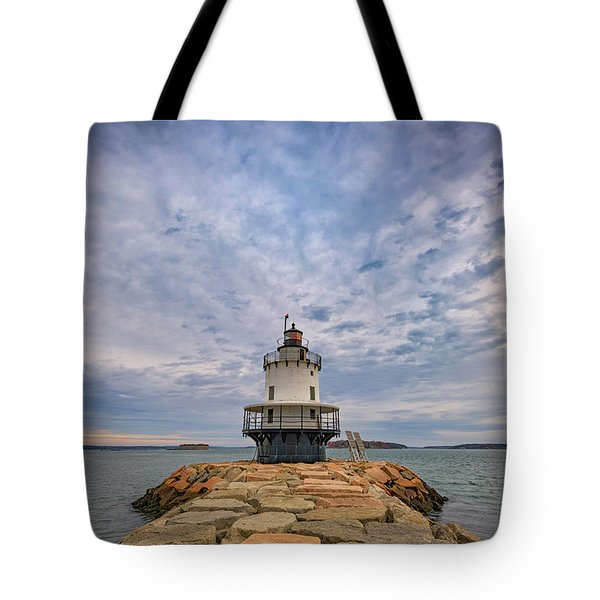 November Morn At Spring Point Ledge Light Station Tote Bag