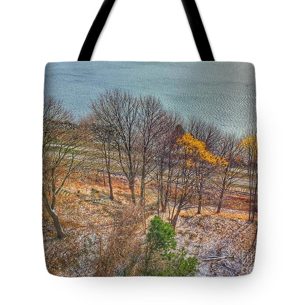 November Snow On Casco Bay Tote Bag