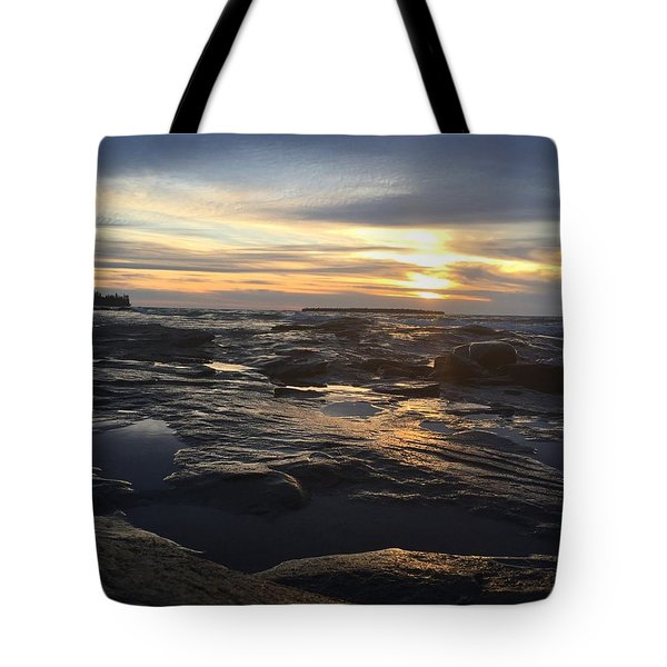Tote Bag featuring the photograph November Sunset On Lake Superior by Paula Brown