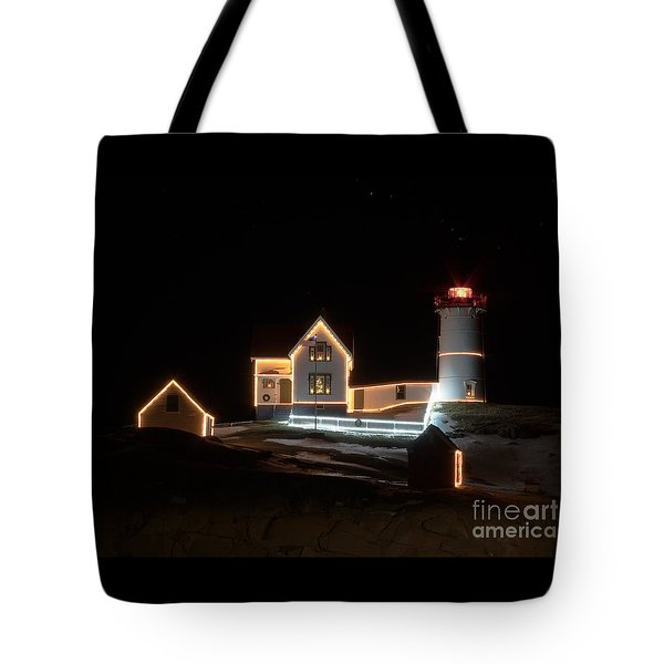 Nubble At Night Tote Bag