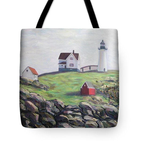 Nubble Light House Tote Bag by Richard Nowak