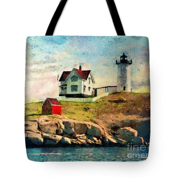 Nubble Light - Painted Tote Bag