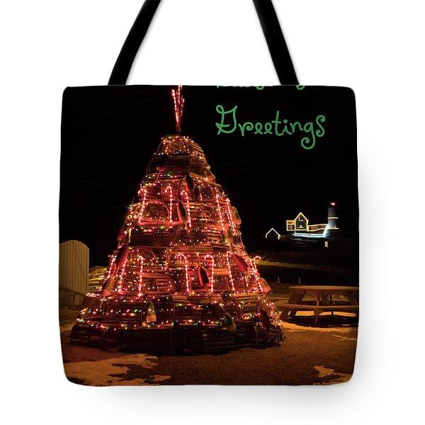 Nubble Light - Season's Greetings Tote Bag