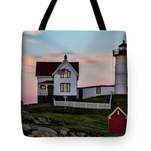 Nubble Lighthouse At Dusk  Tote Bag