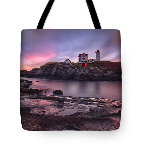 Nubble Lighthouse At Sunrise York Me Tote Bag
