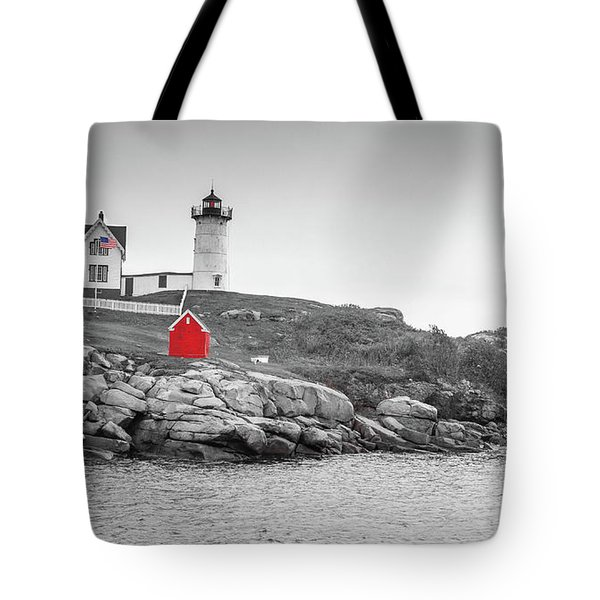 Tote Bag featuring the photograph Nubble Lighthouse In Color And Black And White by Doug Camara