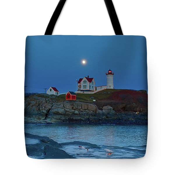 Tote Bag featuring the photograph Nubble Lighthouse Lit For Christmas by Jeff Folger