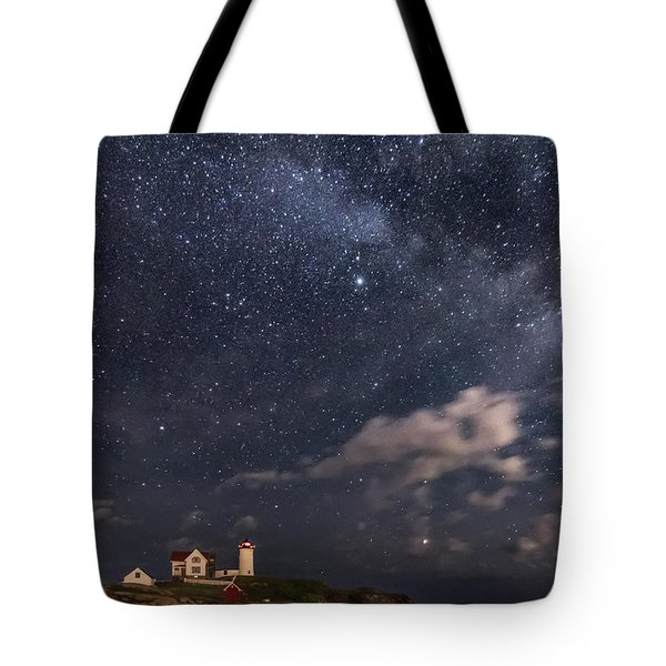 Nubble Lighthouse Under The Milky Way Tote Bag