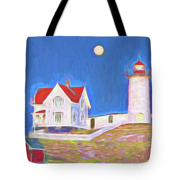 Nubble Lighthouse With Moon Tote Bag
