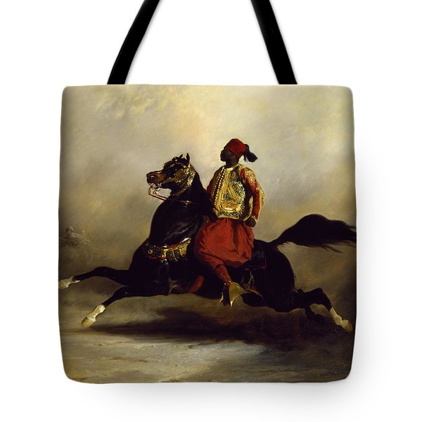 Nubian Horseman At The Gallop Tote Bag by Alfred Dedreux or de Dreux