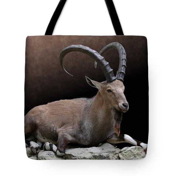 Nubian Ibex Portrait Tote Bag