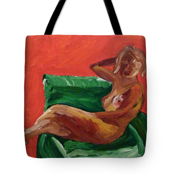 Tote Bag featuring the painting Nude And Green Chair by Joshua Redman