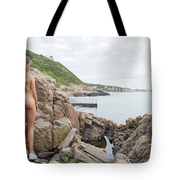 Nude Girl On Rocks Tote Bag