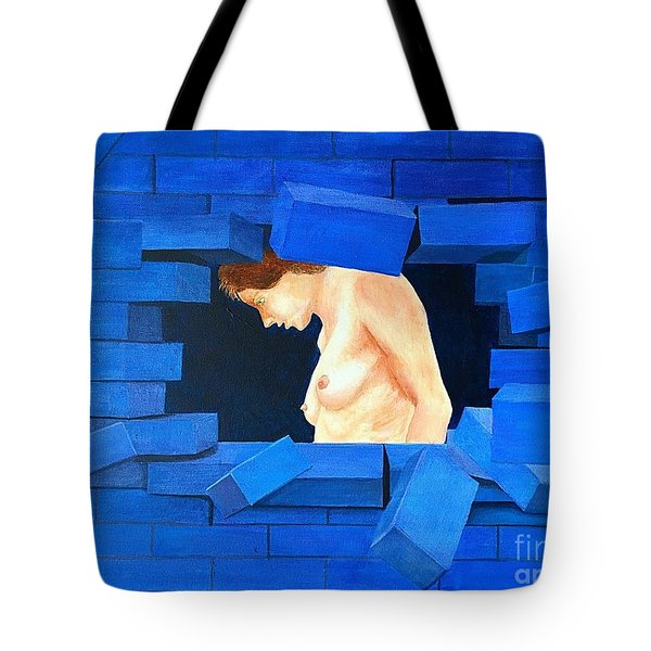Nude Lady Through Exploding Wall Tote Bag
