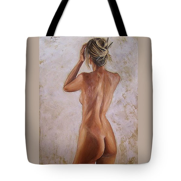 Tote Bag featuring the painting Nude by Natalia Tejera