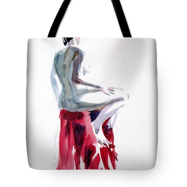 Nude On A Draped Stool Tote Bag by Mark Lunde