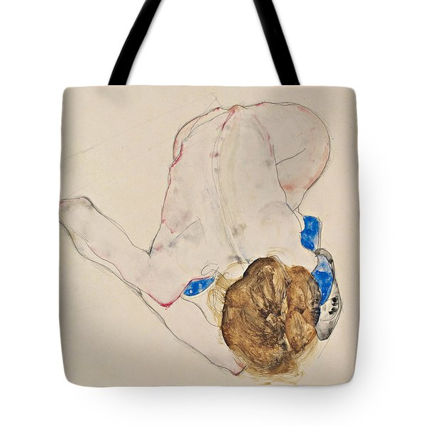 Nude With Blue Stockings, Bending Forward Tote Bag