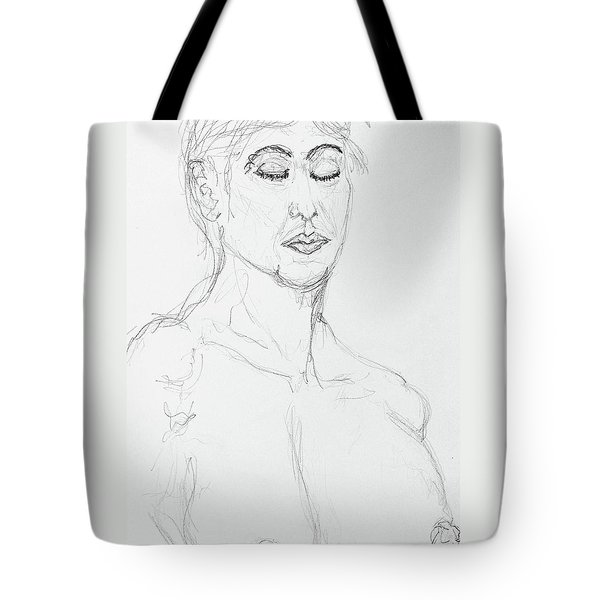 Nude With Eyes Closed Tote Bag by Rand Swift