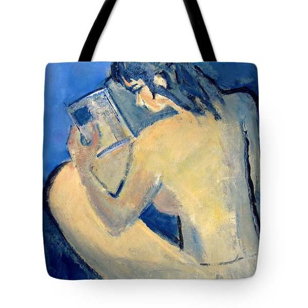 Nude With Nose In Book Tote Bag