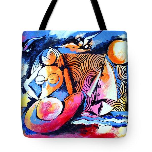 Nude Woman And Sailboat Tote Bag