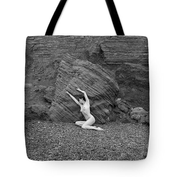 Nude Woman Pulling Shape By Rocks Tote Bag