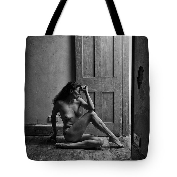 Nude Woman Sitting By Doorway In Abandoned Room Tote Bag