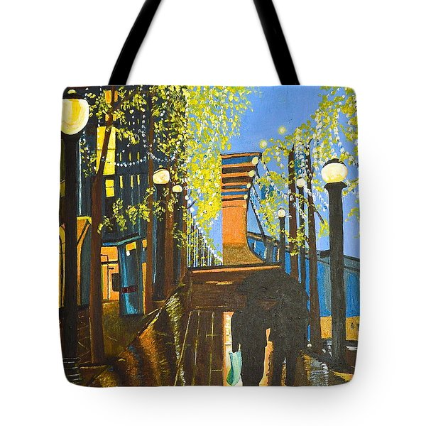 Tote Bag featuring the painting Nuit De Pluie by Donna Blossom