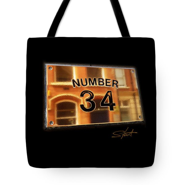 Number 34 Tote Bag by Charles Stuart