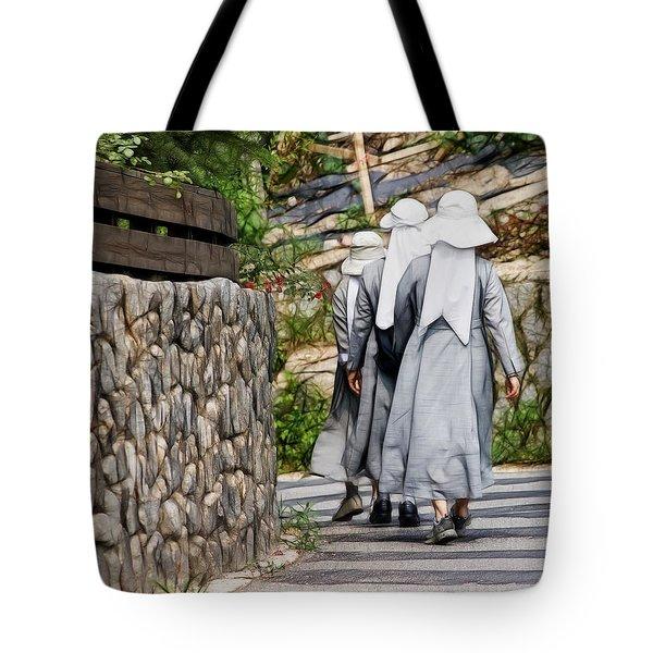 Nuns In A Row Tote Bag