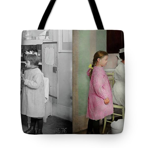 Tote Bag featuring the photograph Nurse - Playing Nurse 1918 - Side By Side by Mike Savad