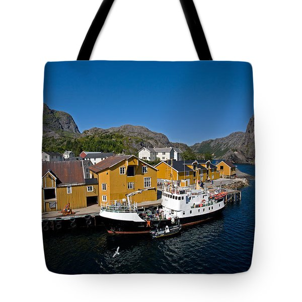 Nusfjord Fishing Village Tote Bag by Aivar Mikko