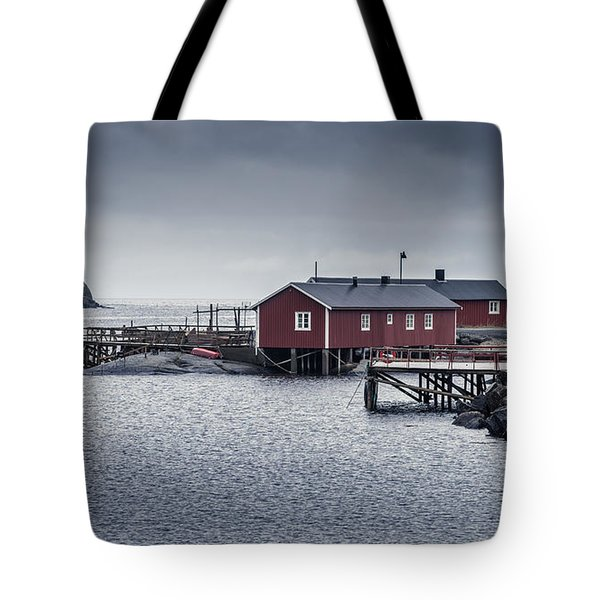 Tote Bag featuring the photograph Nusfjord Rorbu by James Billings