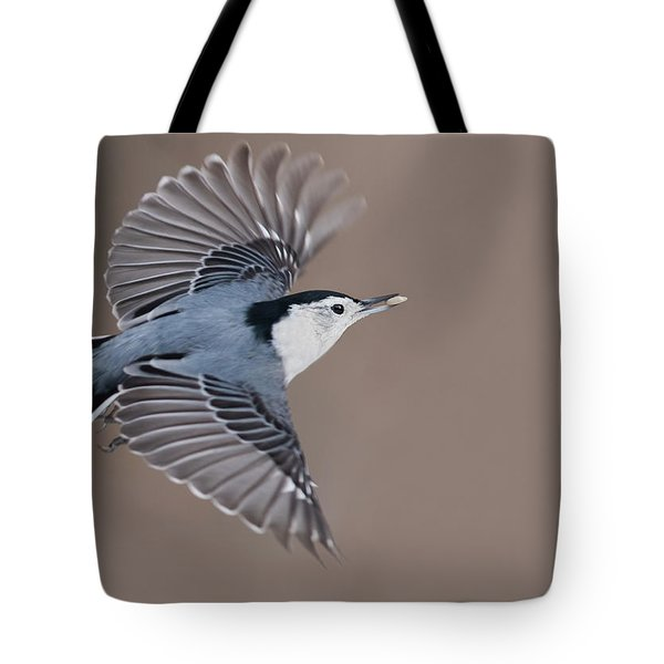Tote Bag featuring the photograph Nuthatch In Flight by Mircea Costina Photography