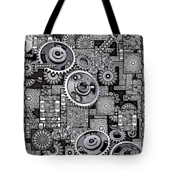 Tote Bag featuring the digital art Nuts And Bolts by Eleni Mac Synodinos