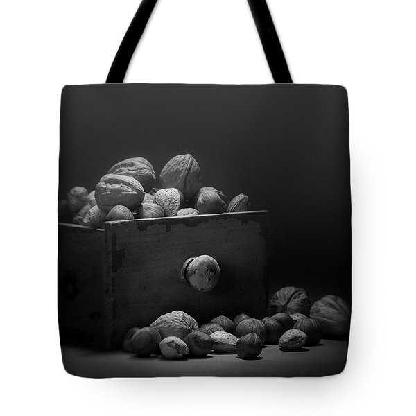 Tote Bag featuring the photograph Nuts In Black And White by Tom Mc Nemar