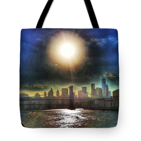 Nyc Skyline At Sunset Tote Bag