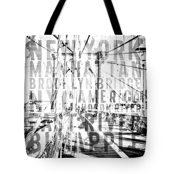 Nyc Brooklyn Bridge Typography No2 Tote Bag