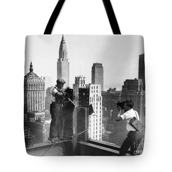 Tote Bag featuring the photograph Nyc Construction, C1932 by Granger
