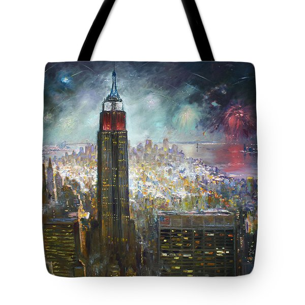 Nyc. Empire State Building Tote Bag by Ylli Haruni