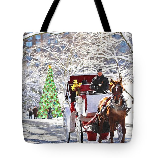Festive Winter Carriage Rides Tote Bag