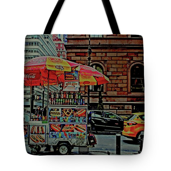 New York City Food Cart Tote Bag by Sandy Moulder