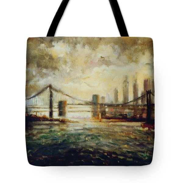 Tote Bag featuring the painting Nyc Harbor by Walter Casaravilla