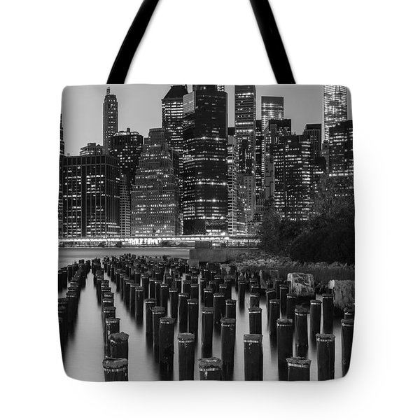 Tote Bag featuring the photograph Nyc Skyline Bw by Laura Fasulo