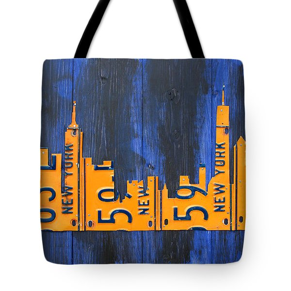 Nyc New York City Skyline With Lady Liberty And Freedom Tower Recycled License Plate Art Tote Bag by Design Turnpike