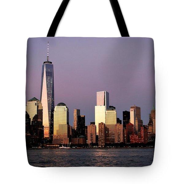 Nyc Skyline At Dusk Tote Bag by Matt Harang