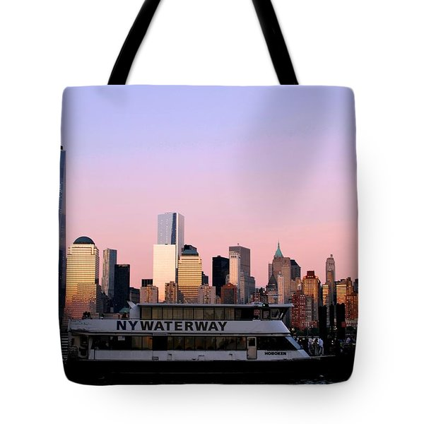 Nyc Skyline With Boat At Pier Tote Bag