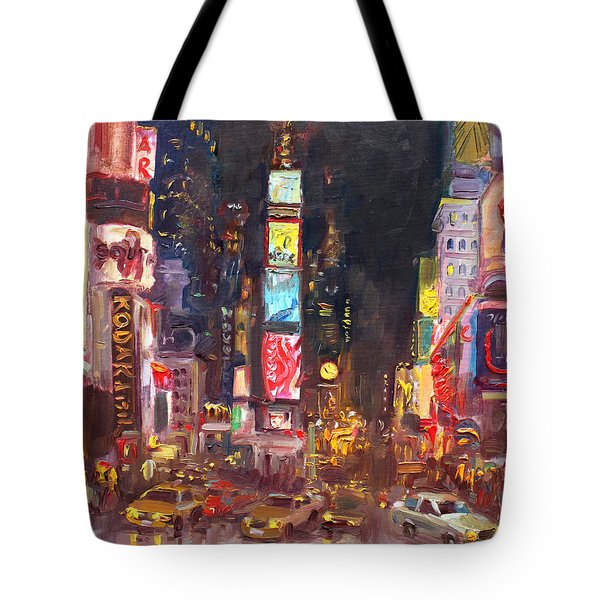 Nyc Times Square Tote Bag by Ylli Haruni