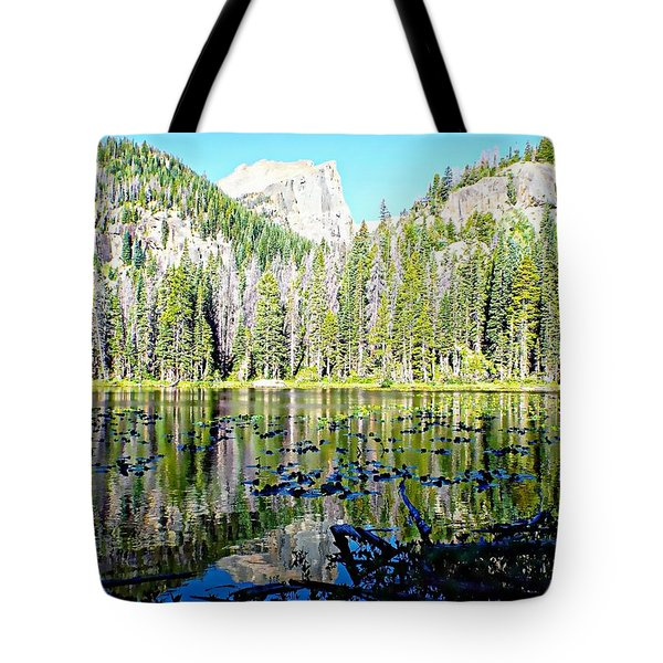 Nymph Lake And Flattop Mountain Tote Bag by Joseph Hendrix